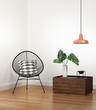 Leinwanddruck Bild - Boho interior with wired chair and low table