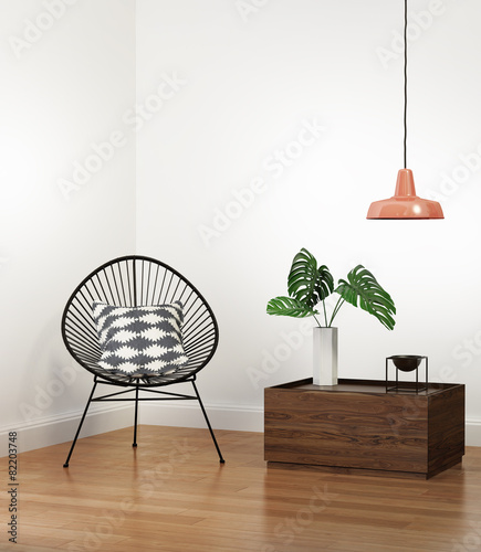 Leinwanddruck Bild Boho interior with wired chair and low table