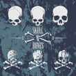 Skulls and cross bones on the grunge background - 82204577