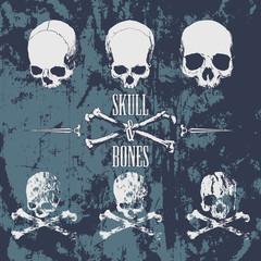 Skulls and cross bones on the grunge background