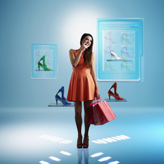 Caucasian woman shopping for shoes online