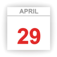 April 29. Day on the calendar.
