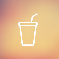Disposable cup with lid and straw thin line icon