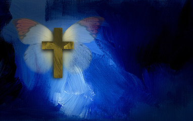 Abstract graphic with cross and butterfly wings