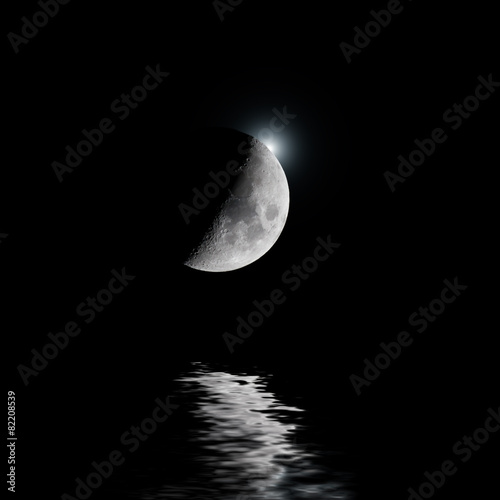 Backlit moon with white star over water Poster