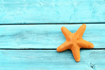 Starfish  on the wooden blue background.