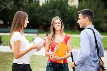 Students talking in a park