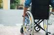 Leinwandbild Motiv Disabled man trying to getting on a ramp