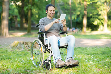 Detail of a man using a wheelchair