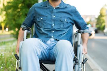 Detail of a man using a wheelchair