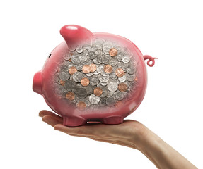 Change reflected in piggy bank