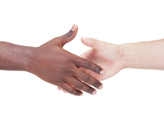 Handshake between caucasian and african man, isolated on white b