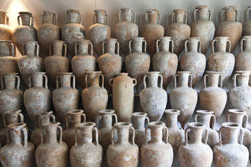 Unfinished clay pots in studio