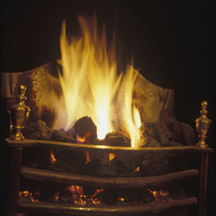 Coal Fire in an English Fireplace