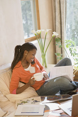 African woman working at home