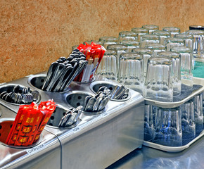 Arranged Glasses and Silverware