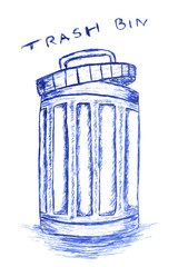 hand draw sketch, Rubbish bin filled with waste