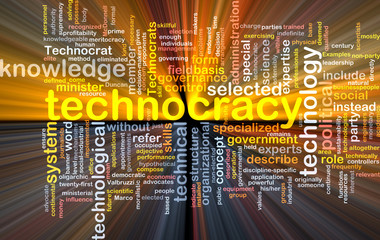 Technocracy  background wordcloud concept illustration glowing