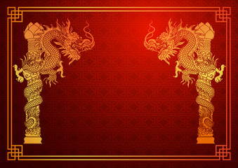 Chinese traditional template with chinese dragon