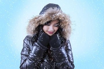 Beautiful woman with fur jacket
