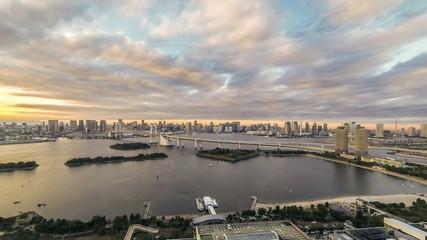 Time lapse rainbow bridge view at Tokyo Bay