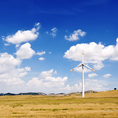wind generators turbine and sky with clouds