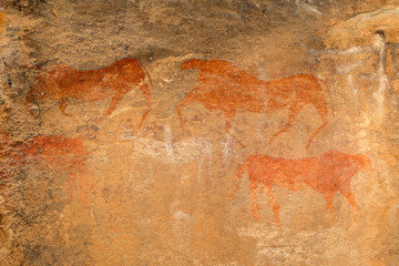 Bushmen rock painting of African antelopes