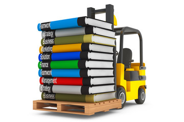 Forklift with Stack of Books