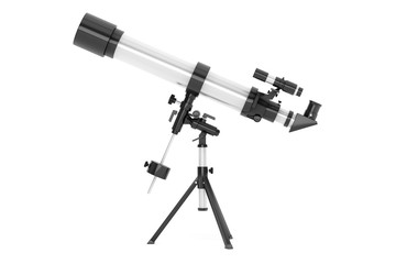 Silver Telescope on Tripod