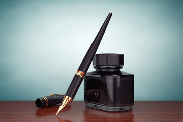Old Style Photo. Fountain Pen with Ink Bottle