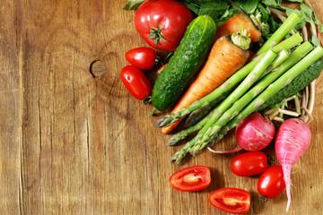 fresh organic spring vegetables