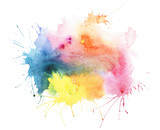 Abstract watercolor aquarelle hand drawn blot colorful paint