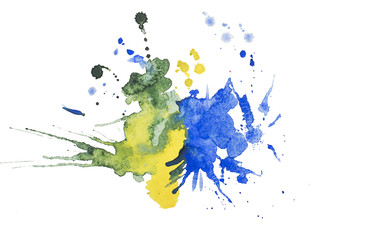 Abstract watercolor aquarelle hand drawn blot colorful yellow