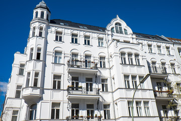 Historic white residential building seen in Berlin, Germany