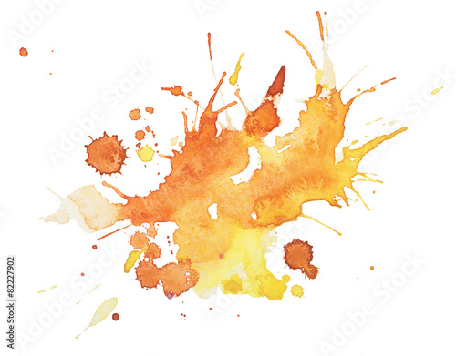 Abstract watercolor aquarelle hand drawn blot colorful yellow - 82227902