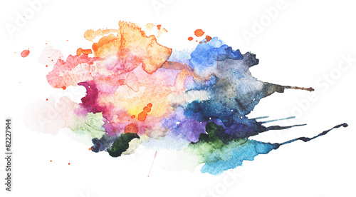 canvas print picture Abstract watercolor aquarelle hand drawn blot colorful paint