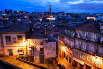 Old Town of Porto in Portugal at Dusk