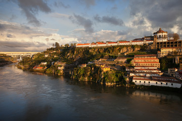 Douro River at Sunset along Vila Nova de Gaia