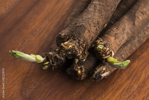 salsify vegetables on wood