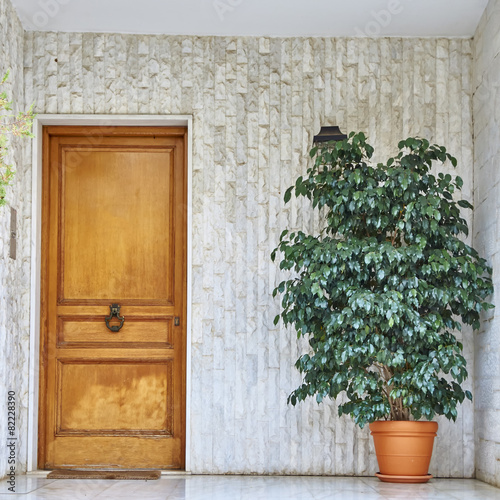 Staande foto Athene contemporary house wooden door, Athens Greece