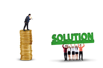 Employees with solution for their leader