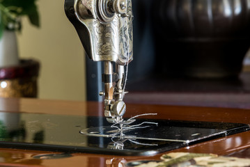 Old sewing machine ready to use