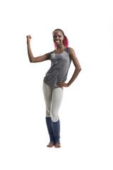 Smiling woman in sports wear