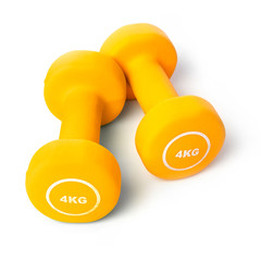 Orange dumbells