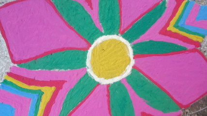 Rangoli an indian traditional colorful drawing,