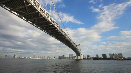 Under rainbow bridge at tokyo bay