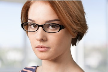 Glasses. Woman with glasses