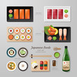 Infographic japanese foods business flat lay idea. Vector illust - 82230957