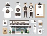Vector restaurant cafe set shop front design, flyer, menu, packa