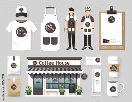Vector restaurant cafe set shop front design, flyer, menu, packa - 82231158